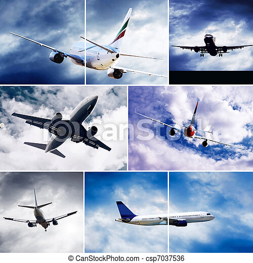 飛, 云霧, 拼貼藝術, 飛机, 天空, 相片 - csp7037536