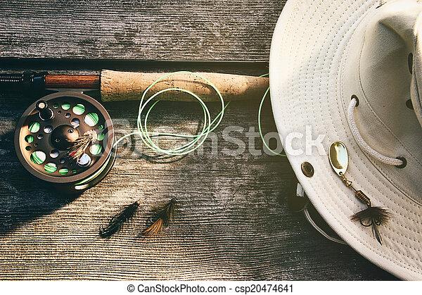飛, 鞭笞, 木頭, 帽子, 釣魚 - csp20474641