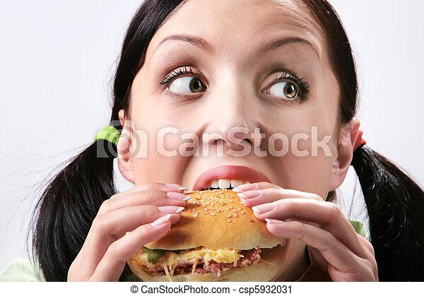 食べること, ハンバーガー - csp5932031