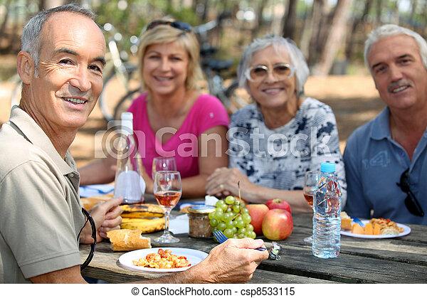 食べること, ピクニック, 森林, 家族 - csp8533115