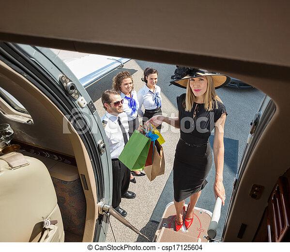 食宿, 袋子, 妇女购物, 喷射, 私人, 富有, 肖像 - csp17125604