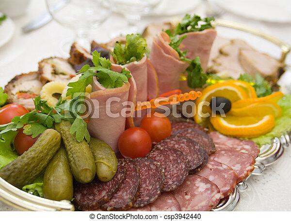 食物, いくつか, 野菜, 整理, 薄く切られる - csp3942440
