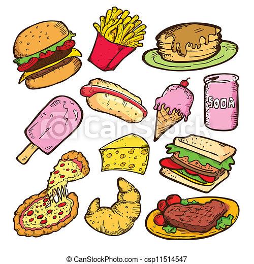 食物, いたずら書き, がらくた - csp11514547