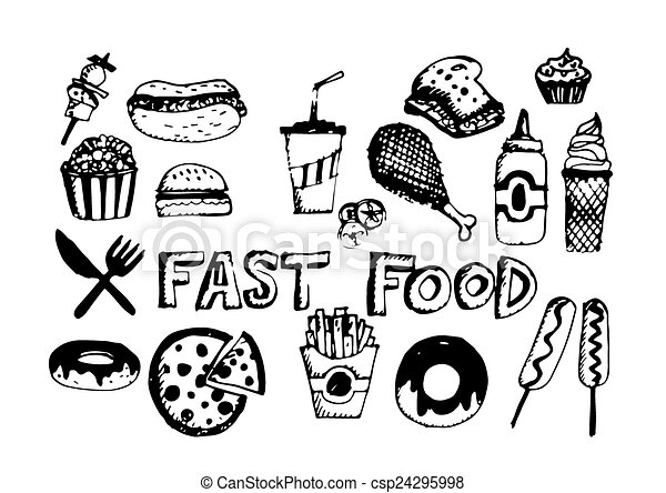 食物, シンボル, ベクトル, 速い, アイコン - csp24295998