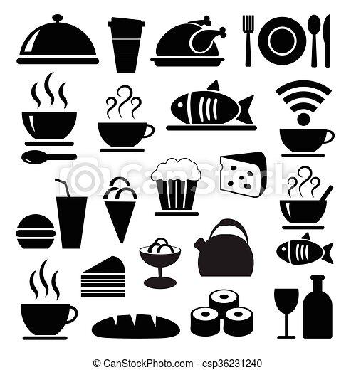 食物, セット, 黒, ベクトル, アイコン - csp36231240