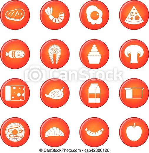 食物, ベクトル, セット, アイコン - csp42380126