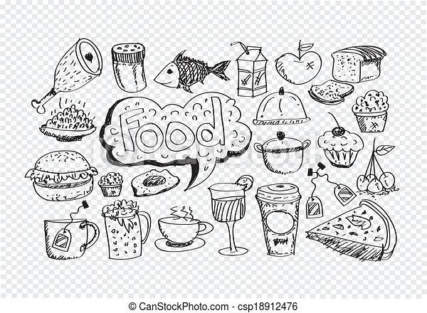 食物, ベクトル, セット, アイコン - csp18912476