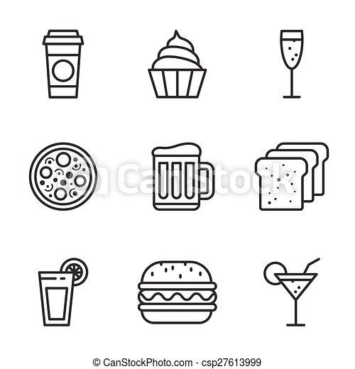 食物, ベクトル, セット, アイコン - csp27613999
