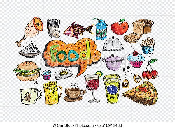 食物, ベクトル, セット, アイコン - csp18912486