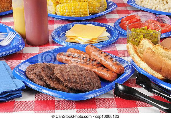 食物, 夏, ピクニック, テーブルをロードした - csp10088123