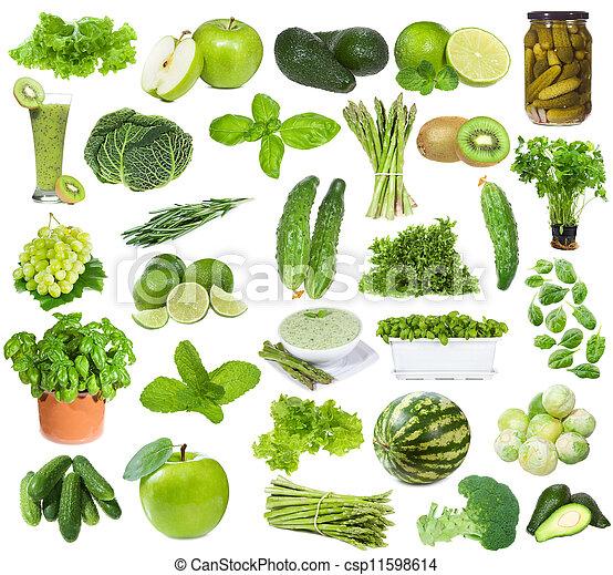 食物, 集合, 綠色 - csp11598614