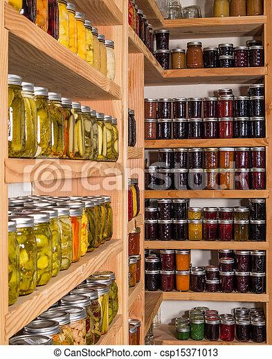食物, shelfs, 貯蔵, 缶詰にされる - csp15371013