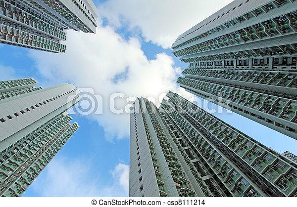香港, ハウジング, パックされた, 公衆 - csp8111214