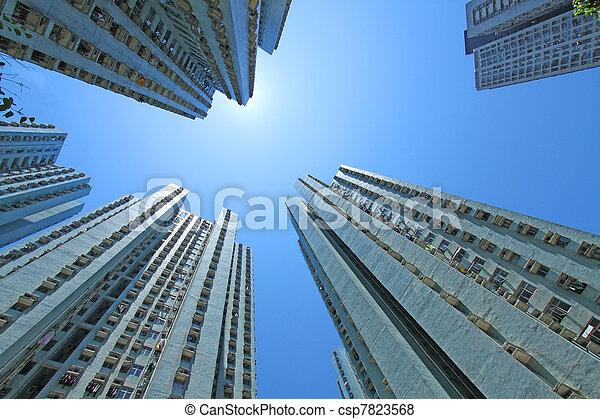 香港, ハウジング, パックされた, 公衆 - csp7823568
