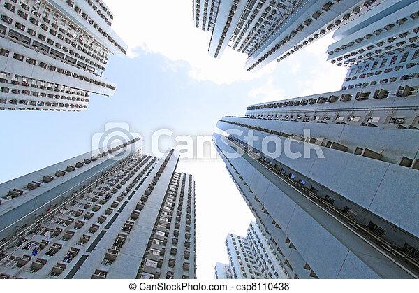 香港, ハウジング, パックされた, 公衆 - csp8110438