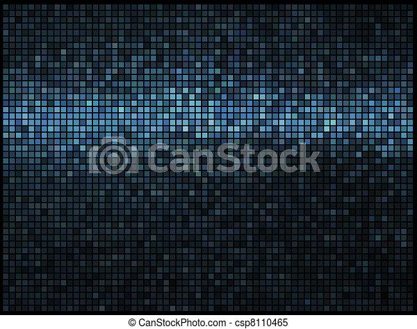馬賽克, 象素, 廣場, 藍色, 摘要, 光, 迪斯科, multicolor, 矢量, 背景。 - csp8110465