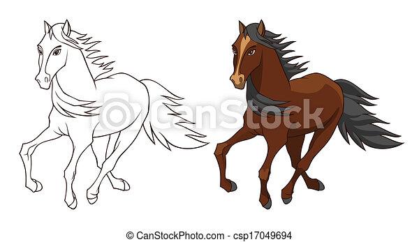 馬 イラスト 馬の色 白黒 隔離された イラスト バージョン 白 Canstock