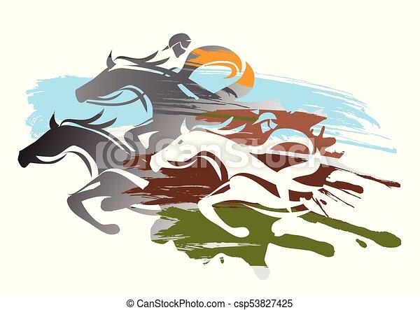 馬, racing. - csp53827425