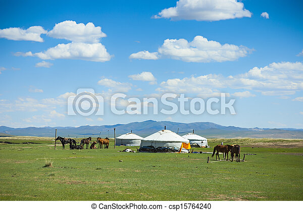 馬, yurts, mongolia - csp15764240