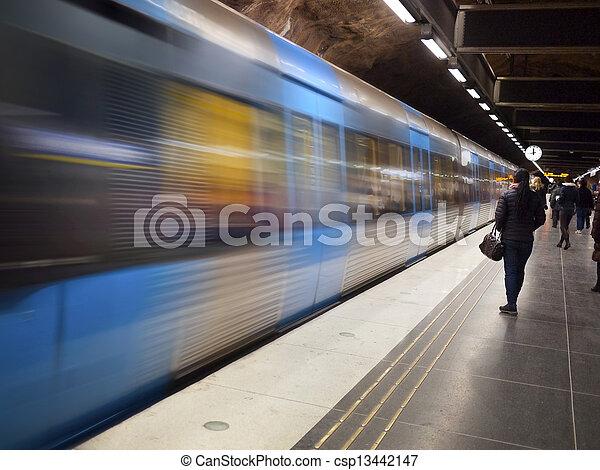 駅, ストックホルム, 列車, 地下鉄 - csp13442147