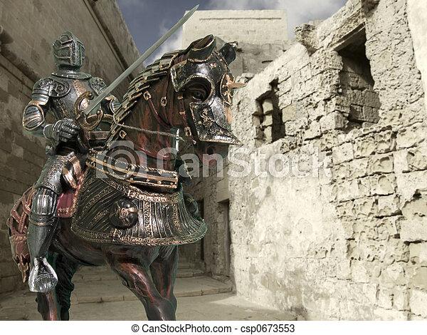 騎士, 馬の背 - csp0673553