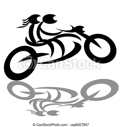 騎自行車的人, 夫婦, 摩托車 - csp6007847