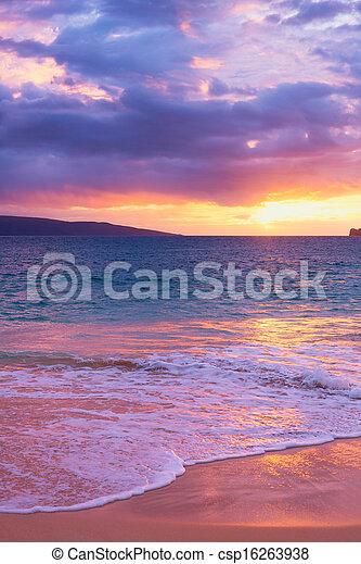 驚かせること, 浜, 日没, トロピカル - csp16263938