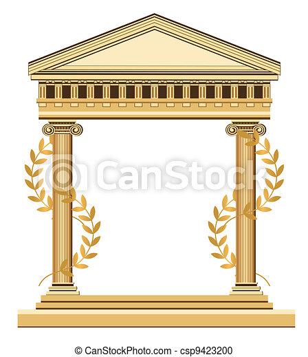 骨董品, ギリシャ語, 寺院 - csp9423200