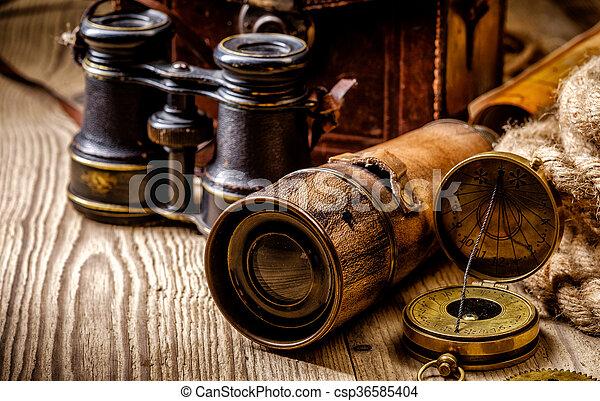 骨董品, グランジ, 木製である, 項目, 型, life., まだ, テーブル - csp36585404
