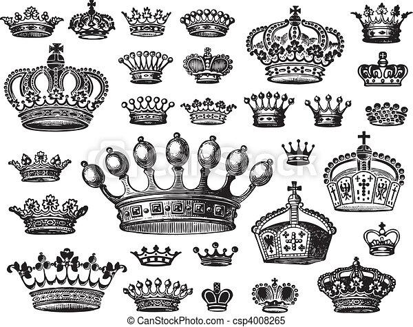 骨董品, セット, 王冠, (vector) - csp4008265
