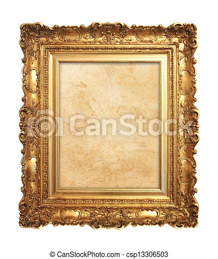 骨董品, フレーム, 古い, 金 - csp13306503