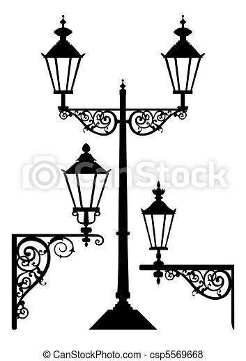 骨董品, ランプ, セット, 街灯 - csp5569668
