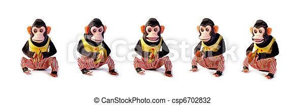 骨董品, 型, 隔離された, コレクション, 背景, 白, 猿 - csp6702832