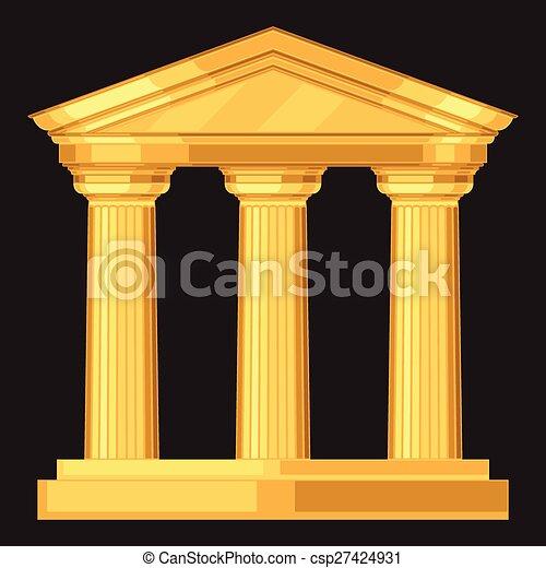 骨董品, 現実的, doric, ギリシャ語, 寺院, コラム - csp27424931