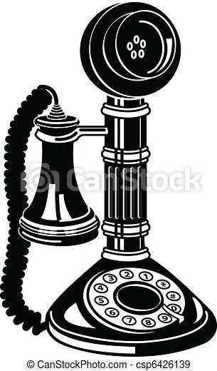 骨董品, 芸術, クリップ, 電話, 電話, ∥あるいは∥ - csp6426139