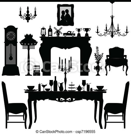 骨董品, 食事をする, 古い, 家具 - csp7196555