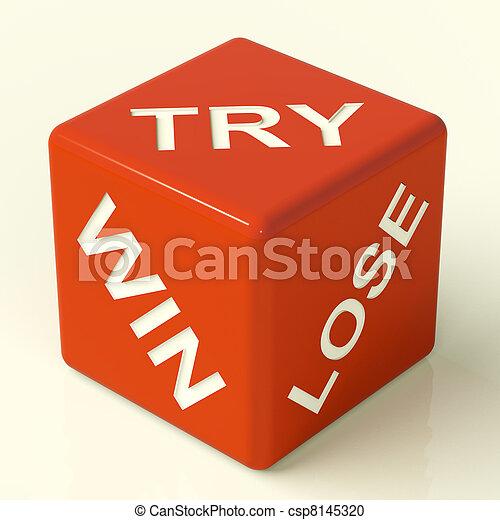 骰子, 取得胜利, 显示, 试图, 失去, 赌博, 红, 运气 - csp8145320