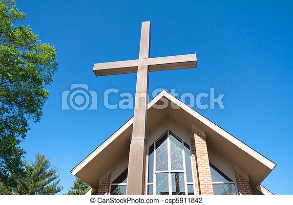 高い, 現代, 背景, 教会堂十字 - csp5911842