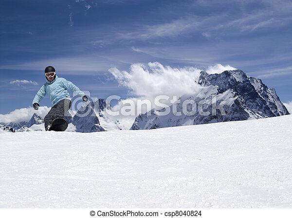 高く, snowboarding, 山 - csp8040824