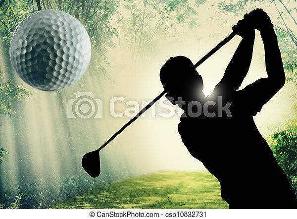 高尔夫球, 球, 绿色, 放 - csp10832731