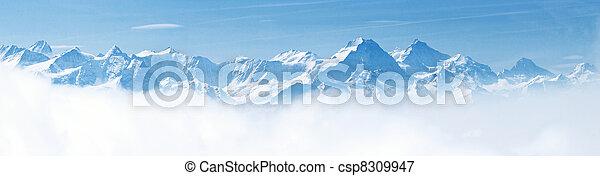 高山, 山, 雪風景, 全景 - csp8309947