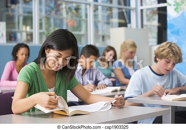 高校, クラス, 子供 - csp1903325