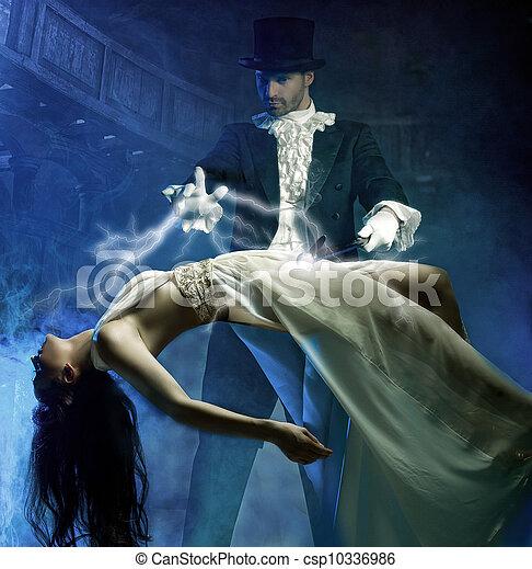 魔術, 美麗, 女孩, 空氣, 執行, 魔術師 - csp10336986