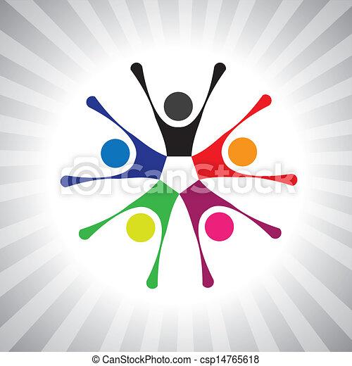 鮮艷, 社區, pals, 也, 玩, 樂趣, 震動, 簡單, friendship-, 有, 矢量, 孩子, 慶祝, graphic., 罐頭, 共同得到, 興奮, 孩子, 插圖, 人們, 代表, 這 - csp14765618