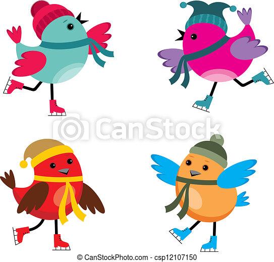 鳥, アイススケートをする - csp12107150