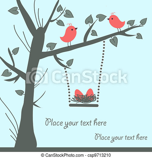 鳥, カード, ベクトル - csp9713210