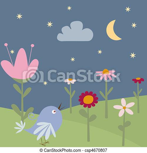 鳥, カード, 挨拶, 花 - csp4670807