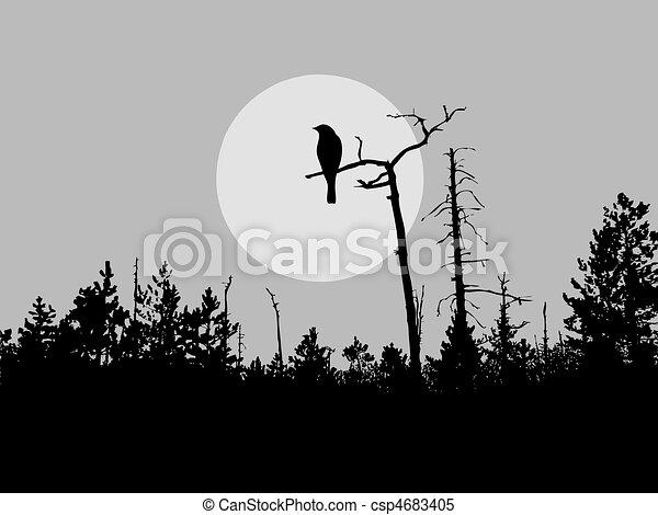 鳥, シルエット, ベクトル, 木 - csp4683405