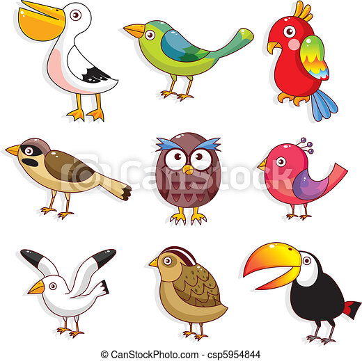 鳥, 卡通, 圖象 - csp5954844