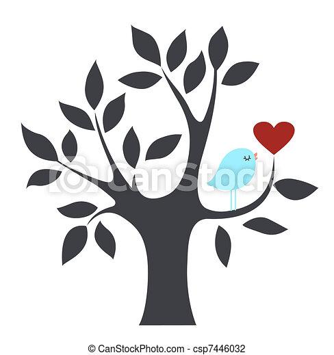 鳥, 愛, 木 - csp7446032